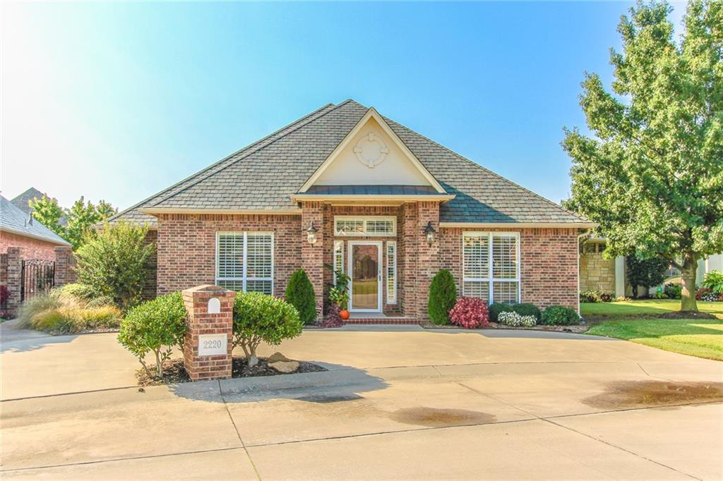 Beautiful home in a gated community. The kitchen has tall custom cabinets and pull out drawers, granite counter tops, built in appliances, and a large breakfast bar that overlooks 2nd dining areas and the living room.    Owners suite overlooks large covered patio and has a bathroom with a whirlpool tub and a large shower. Guests will enjoy the 2nd bedroom which has natural light and is connected to hall bath.  Other bedroom has a wall of built-ins and could be a home office or study. 2nd living room is only room upstairs. You will love the storage in the utility room, the plantation shutters throughout, the small maintenance free yard with a water feature, and the surround sound throughout the home and on the patio. The garage is oversized and has a 6-8 person in ground storm shelter. HOA takes care of all lawn care and gate/pond maintenance.   Impact resistant roof, 2012.  16 Seer AC, 2016.  Schedule your tour today!