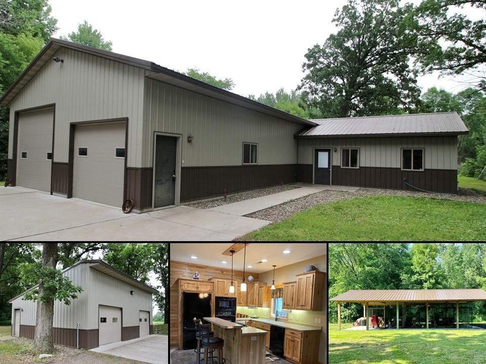"""A true must see for the garage lover…on 11+ acres! This 2011 built one level home features an attached 44'x30' wood heated garage with bonus in-floor heat piped in, 10'wX8'h and 12'wX10'6"""" doors) and half bath with storm shelter, a detached 34'x24' insulated and heated shop, and a 40'x20' pavilion in back with in-floor heat piped in- ready for you to enclose if you want even more shop space. The home features an open floor plan with a beautiful kitchen featuring hickory cabinets, a two level island with breakfast bar, and is wide open to the dining area and living room. Recessed lighting throughout the main living space, in-floor heat with furnace back up, central air, air-to air exchange, ever ready water heater, and the plumbing is already in place if you would like to do an addition. All of this situated on a heavily wooded 11.74 acres with mature trees offering lots of shade and room to play!"""
