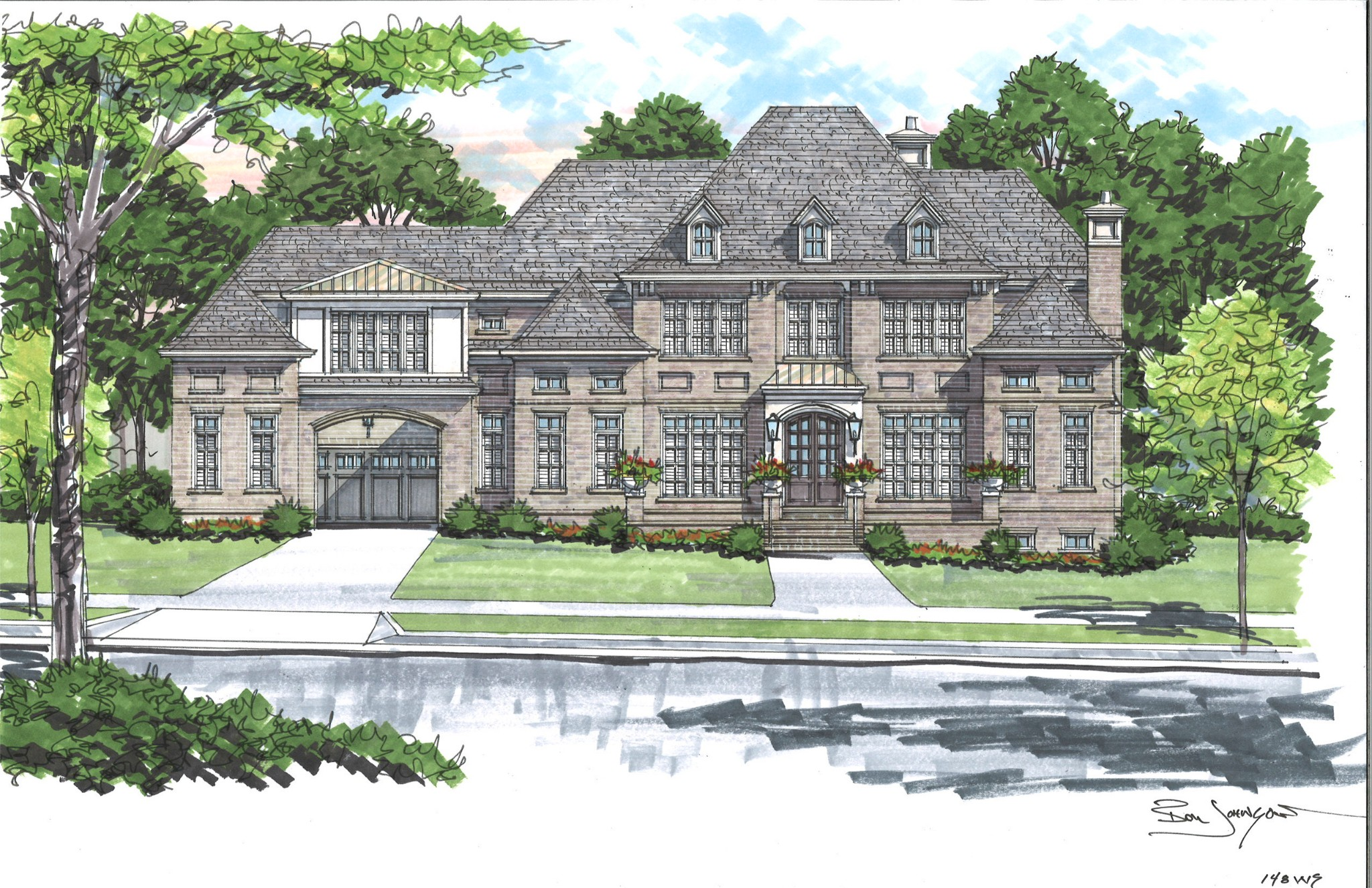 Beautiful Custom Home built by Barlow in Brentwood's most popular Luxury Homes Community - Witherspoon.  5 Bdrms/5Full Baths/2Half Baths.  2 story Fam. Rm. Offering great natural light. Grand classic architecture with Porte cochere to 4 car gar. Oversized rear porch w/outdoor Kit. & fplc. perfect for future pool. Master and Guest Suites on main.