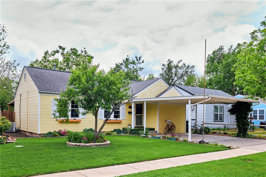 Boho living in the heart of Norman within walking distance to Norman High School! This beautiful home is full of character and wonderful old school charm. Original wood floors to go with a brand new water heater & A/C in 2019 as well as a new water main in 2018. New panel w/surge protector,  Roof, gutters, shutters, carport, side door, and broken windows (from hail storm) already claimed with insurance and approved for replacement prior to closing. As if the home wasn't quaint enough, the backyard boasts a chemical free hot tub, covered patio, shed, and insulated 13x13ft Artist's cabana. Come see this place soon before it's gone!