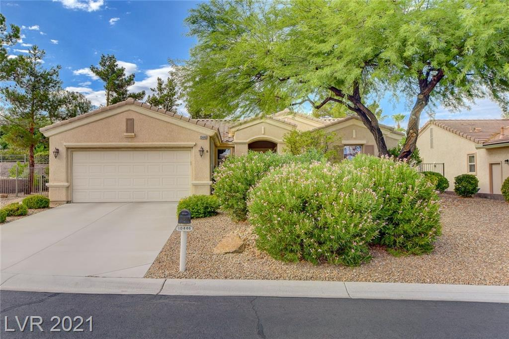 """DESIREABLE CUL-DE-SAC LOCATION, """"SIENA"""" PROPERTY WITH GATED COURTYARD IN FRONT, COVERED PATIO IN REAR WITH B/IN BBQ, AND A CASCADING WATER FEATURE TO ENJOY, THIS '6110' MODEL CONTAINS APPROX 1701/SF, 2 BED, 2 BATH, DEN, OPEN GREAT RM W/ FIREPLACE, KITCHEN W/ STAINLESS STEEL APPLIANCES, DOUBLE FRONT DOOR, TILE, CARPET, BLINDS, 2 CAR GARAGE W/ CABINETRY AND GOLF CART STORAGE AREA, PLUS MUCH MORE!"""