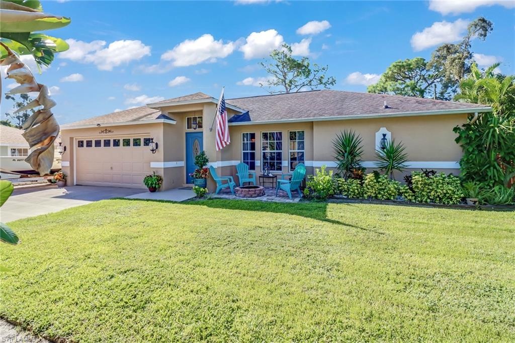 """Single family POOL home with NO HOA Fee's!!  Nicely maintained and offering a desirable 3 bedroom split floor plan. Upon entry you will notice the vaulted living room ceilings with a room full of natural light. This home has a fenced in private yard and a newer roof ( 2013) The A\C was replaced in 2018"""" and a Brand new 50gallon Hot Water Heater was Just installed this month! A Freshly painted exterior with lush landscaping and a 2 car garage. The wide driveway offers plenty of room for your Vehicles & there is even space left over to store your boat!   Furniture is Negotiable, making for a terrific seasonal rental, Airbnb or upcoming winter retreat. Eight miles to RSW Airport . 4 miles to Florida Gulf Coast University. Beautiful Barefoot Beach is 12 miles away!  Convenient to Three Oaks Parkway & Corkscrew Rd. with nearby Outlet shopping and dining. Bordering Estero & FT. Myers this home is not in a flood zone. Come see this affordable Gem!"""