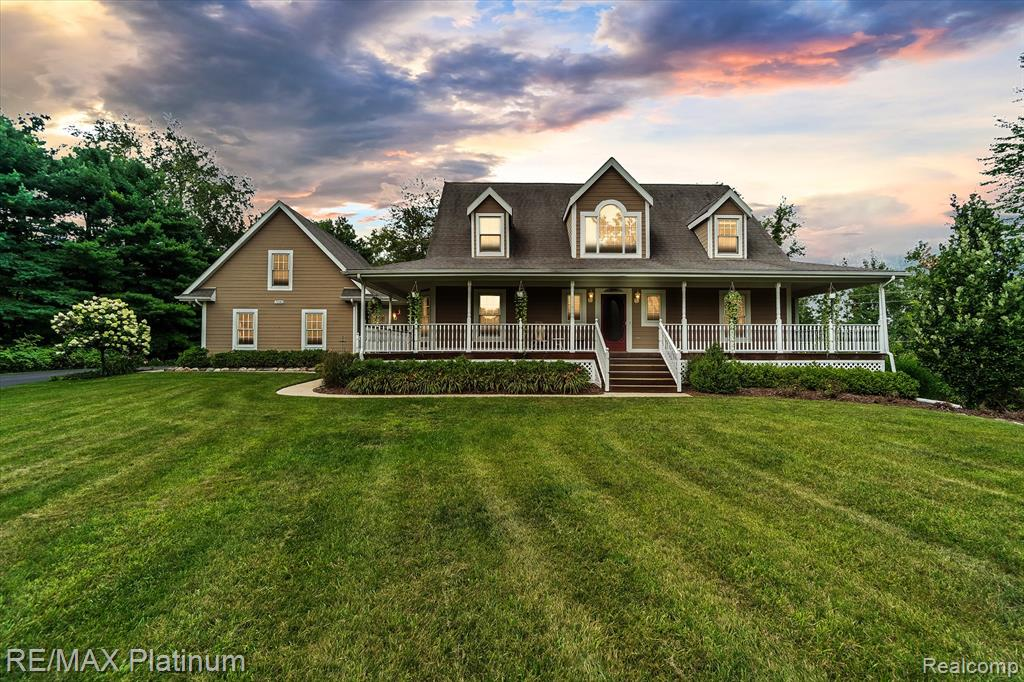 Access by SentriLock-Be sure to download and use the app for showings. Beautiful country cape cod on 4+ acres with a covered wrap-around deck overlooking nature's best! Hardwood floors in front foyer, 2-story living room with gas FP, hardwood floors, ceiling fan, lots of windows viewing the yard. 1st. Floor MBR with hardwood floors, huge bath with jet tub, ceramic shower & flooring. 4th bedroom on the main floor currently used as an office has wood floors, bay window & a walk-in closet. Lg back foyer and laundry area with cabs and laundry tub. Newer hi-eff furnace, 50 gal HWT, & newer well pump. 3 car garage w/18' wide garage door, hot & cold water, 30 x 14' unfin. storage/bonus space w/8' ceiling, swing stays, plumbing in for drain. The property has a 65' deep artesian well. Walk the trails and enjoy this special home!