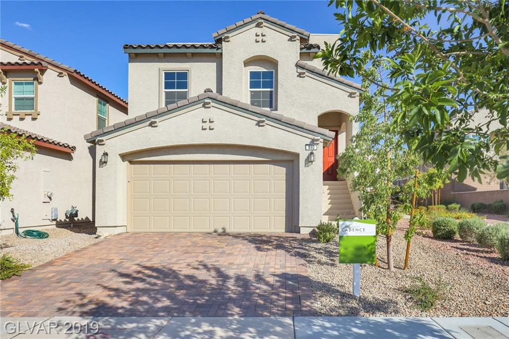 Awesome TWO STORY 3BDRs & 2.5BTHs HOME in Cadence at Henderson! Modern split-level floorplan w/Panoramic View of LV Strip, City & Mountains from ROOF TOP DECK. Bright living space joining Family, Dining, Kitchen on 2nd level adjacent to MBDR w/walk-in closet & MBTH w/dual sinks & shower only. Kitchen w/pantry, SS appl, granite cnt, large island & breakfast bar. 2BDRs, Laundry & Living Rm on 1st level w/access to relaxing covered stone paver patio