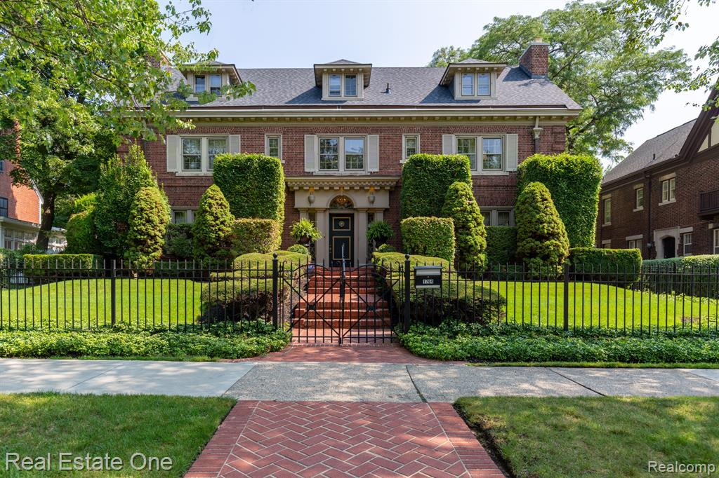 Historic Indian Village-One of the Village's most stunning properties has become available. This home was designed by Smith, Hinchman & Grylles for attorney James H. Finn, Sr & his wife Ethel in 1915. The 9 bedrooms and 5 1/2 baths are quite comfortable. The interior visuals are breathtaking with only the finest of materials. The floors throughout are Wenge & Ebony wood, marble, stone, carpet and hardwood. Luxurious stainless appliances make the kitchen a chef's delight. The owners suite is spacious w/ a spa bath & NFP. Comfort abounds throughout w/ central air, generous windows with open spaces that open to a serene rear sanctuary. A cabana overlooks the elegant (swimming) pool, patio & secret garden. The roof was replaced in 2020 & the boiler in 2021. List of improvements available. This rare property will not last. By appt. only w/24 hr. notice, Pre App/POF. Enjoy the photo gallery.