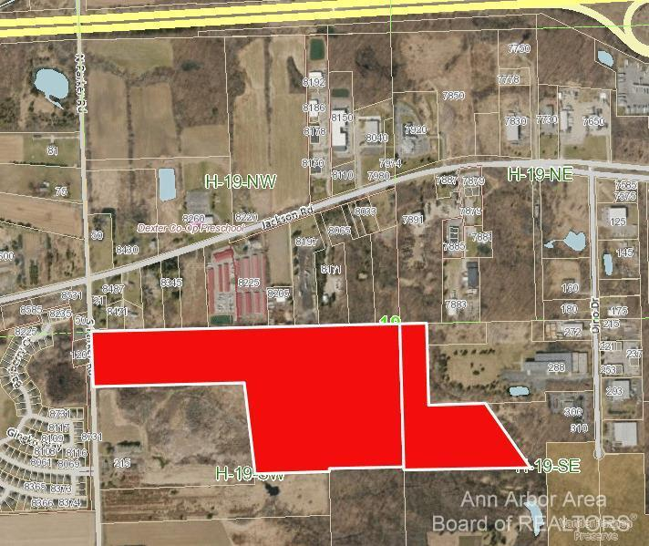 Two adjacent parcels (H-08-19-200-001 & H-08-19-400-023). Great location just south off Jackson Ave, near industrial, local businesses, and established neighborhoods. Scio Township taxes, Dexter schools. Two parcels consisting of 78 acres, currently zoned General Agriculture. Scio Township future land use indicates both parcels as Mixed Use Office / Industrial with the following desirable land uses: office/research, light industrial uses, high density residential uses (only as part of a mixed-use development), and general commercial uses (only as part of a mixed-use development). Both properties are located within Scio Township's sanitary sewer service area.