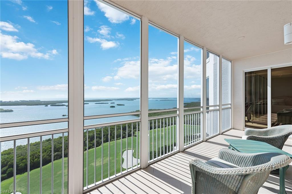 """Enjoy your place among the sunshine and stars in Bonita Bay. This magnificent home provides the lush life and the ultimate comforts of SW Florida. Offering a cozy floor plan with amazing unobstructed views over Estero Bay and the Gulf of Mexico, with an enviable view over the 9th hole on Bonita Bay's most testing Bay Island golf course. The home boasts a lightly lived in appeal and a single-owner history. Handsome marble flooring with hardwood in the den and carpeting in the Master and guest bedrooms. Split bedroom plan with bath en suite. Rich wood cabinetry in the kitchen and granite tops, with a lovely appliance ensemble that fits in style and service. Best part, you are always steps away from resort living with a magnificent array of amenities including a """"beachy"""" walk-in swimming pool, and exotic spa, with an outdoor pavilion with fireplace and bar for the party at the pool. Inside you will find a complete fitness center and spa, party room and bar, ready to host your catered events, and billiards and card room to top the evening off. A theater room for all those big viewing events is also at your fingertips. It's the good life!"""