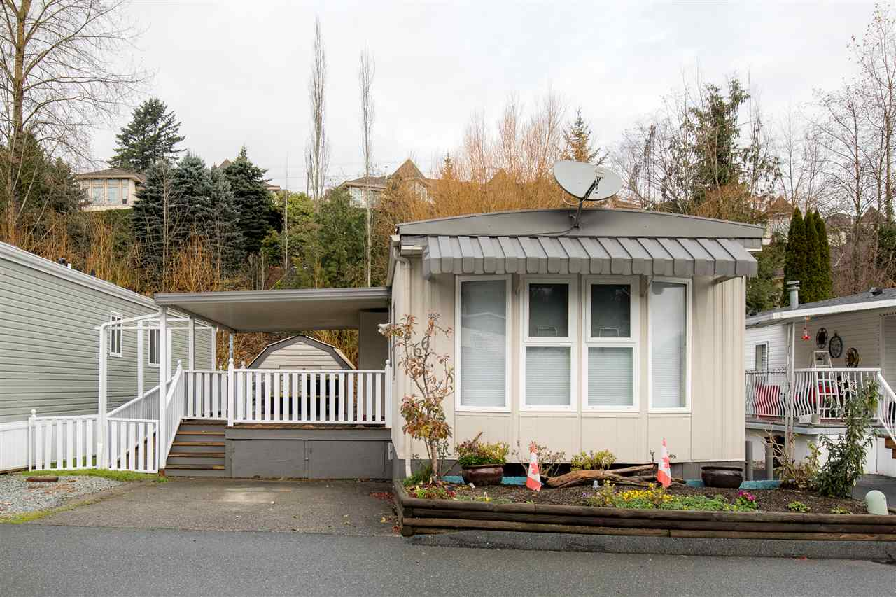 Relax and enjoy life here at Georgian Park!! 55+ Age Restricted complex allows for maximum comfort with this Manufactured home located directly right off the entrance into the park, backing onto a greenbelt, and with great neighbors all around. Wheelchair accessible and a massive 22' x 13' fully covered front deck with extra built in storage. Floor plan offers an open concept Kitchen and Living room a front bay window allowing plenty of natural sunlight. Laminate flooring throughout, updated countertops with breakfast bar, bedrooms at the back, and also an updated bathroom! Storage shed for your exterior tools and ultimate privacy here. Pad Rent is $655 and park approval is required. Bring your animals as 2 small pets are allowed!