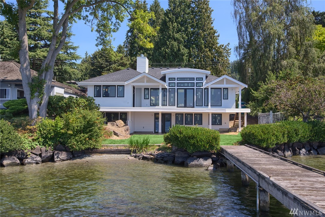 This waterfront home already has it all, 5BR, 5BA custom West-facing estate. Sweeping views of LK WA, Mt. Rainier & sunsets. Enjoy the open floor-plan rambler w/ daylight bsmnt as it is fully renovated from the studs 2018. Luxurious fixtures & finishes w/ extensive millwork, hrdwds & natural stone. Chef kitchen w/ ideal layout. Fantastic 85 ft of shoreline + 76 ft dock w/ deep moorage. Don't miss the chance to make this your own custom home still time to select interior colors, flooring & appl.