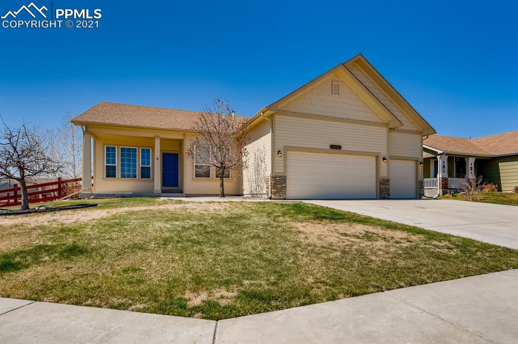 This beautiful ranch-style home w/ 4 Bedrooms, 3 Baths, and 3 Car Garage is located—the popular High Gate Farms on a corner lot. The exterior greets you with a welcoming front porch.  As you enter the home, you are greeted with solid oak hardwood floors, a lovely 2nd dining or flex space room, and a hallway that leads you into an open concept living room. The large living room boasts a beautiful gas fireplace and built-in niche. The kitchen has a stunning island with maple cabinetry and a spacious dining area with a walkout to the backyard. As you continue to walk through the home, you will spot the large master bedroom with a private porch, luxurious en-suite with a 5pcs Bath and master walk-in closet that can be accessed from the bedroom or the mudroom from the garage. The conveniently placed mud/laundry room is located on the main level with adjoining access to the 3-car garage. The second spacious bedroom provides a nice-sized closet and plenty of natural light. The basement is home to the huge rec room, wet bar, 2 additional bedrooms, and 1 full bathroom. Don't worry about the hot summer months ahead; this home has A/C to keep you cool. A great location with easy access to Fort Carson, Peterson AFB, and Schriever AFB. Take a look today!