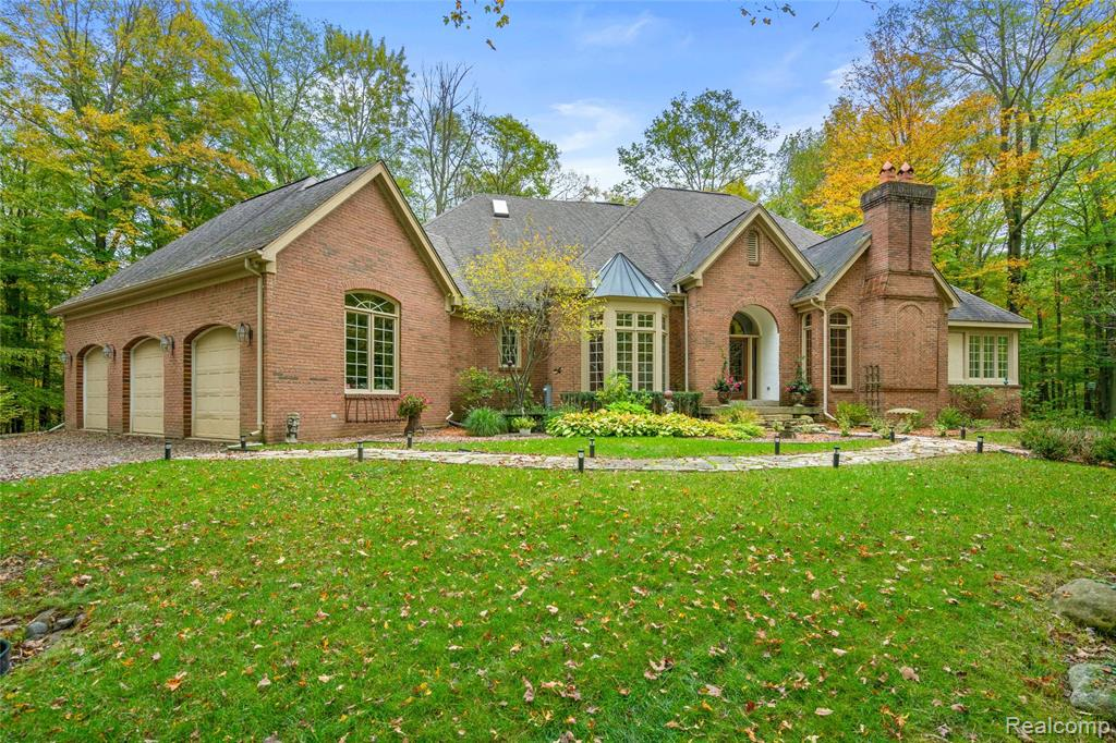 Custom Designed French Country home on estate sized 18.71 wooded acres.The home was built with the highest quality materials and trim. 2x6 exterior wall framing for energy effeciency. Homes first floor has 9' ceilings. Library has 10'ceiling,judges paneling and solid oak European doors. Dining Rm has 14' cathedral ceiling fanned out by bay window. 20' studio ceiling in the Great Rm and solid core interior doors throughout. Warm youself by the libary's wood burning fireplace or the great rm and breakfast nook's dual fireplaces with gas logs. The basement is finished in a western log theme with a walkout rec. room with a bar and additional bath and bedroom. Basement has a gas log pot belly stove. Extras include a satelite dish, master shower steamer, gutter guard, wired  for alarm, chimney caps and Artesian Creek. Custom decks and patios. There is a corral for horses. Located on a scenic road in the horse district and offering the ultimate in viewing wildlife. Deer and turkey everywhere.