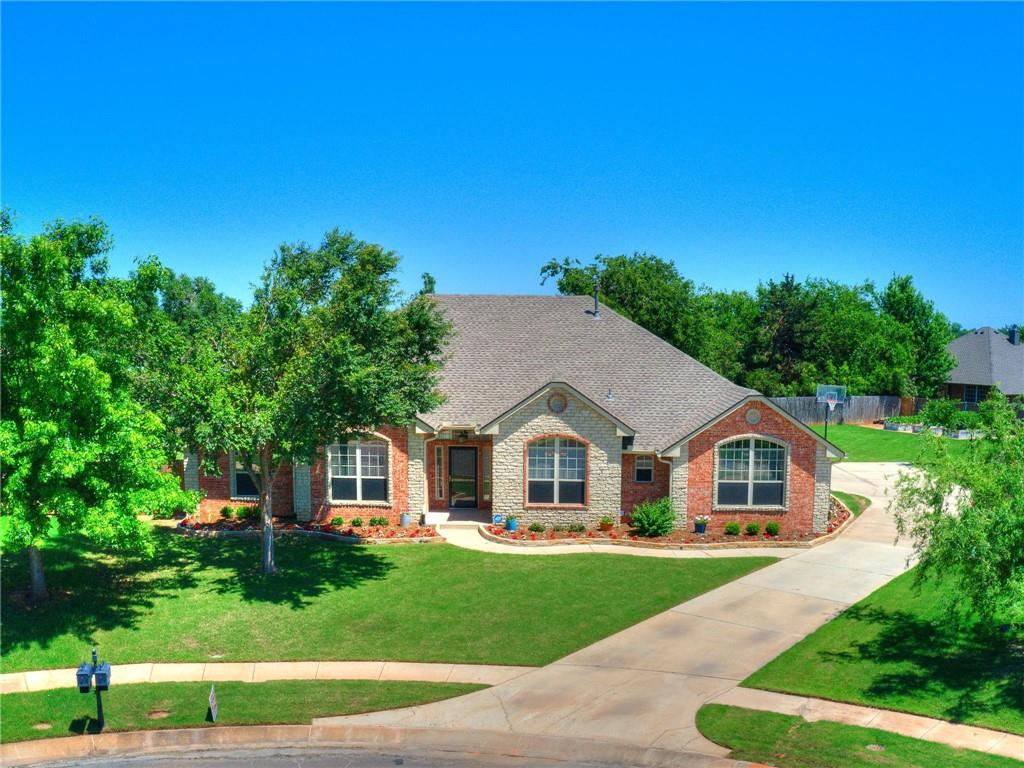 Waterfalls, walking trails, park & community pool, Highland Village offers something for everyone. This immaculate, one owner property sits on over 1/4 an acre. Enter the front door and you will find a spacious, open concept living area with an inviting bar top connecting you to the kitchen. Double ovens, a large center island and stainless steal appliances complete the heart of the home. Beautiful wood floors can be found in both the study & formal dining. Large ceramic tiles will lead you to the powder bath, laundry room & owners suite. There you will find a large room, leading to a stunning walk-in shower, extra large closet and jacuzzi tub. On the opposite side of the home, you will find two guest rooms featuring private vanities in each, and connected through the bathroom. The extended private driveway will lead to your three car garage and raised flowerbeds. Enjoy a cup coffee on the covered back patio each morning, watching gorgeous Oklahoma sunrises. Come see this one today!