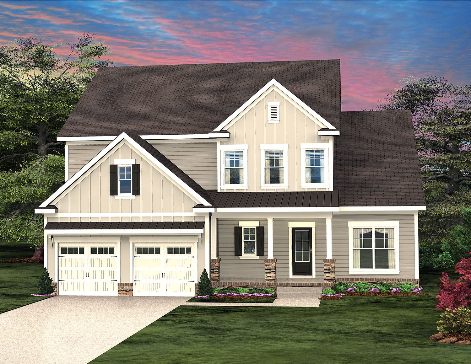 Gorgeous Jamestown plan.  4 or 5 bedrooms, one could be an office, freestanding soaking bathtub, hardwoods, tile, upgraded chef style kitchen is perfect for any gathering and is large enough for entertaining.  The covered back patio has a glass sliding panel from the great room.  The porch is cable ready with a cozy wood-burning fireplace, just bring your TV! Photos are of a similar completed home. READY MAY 2021