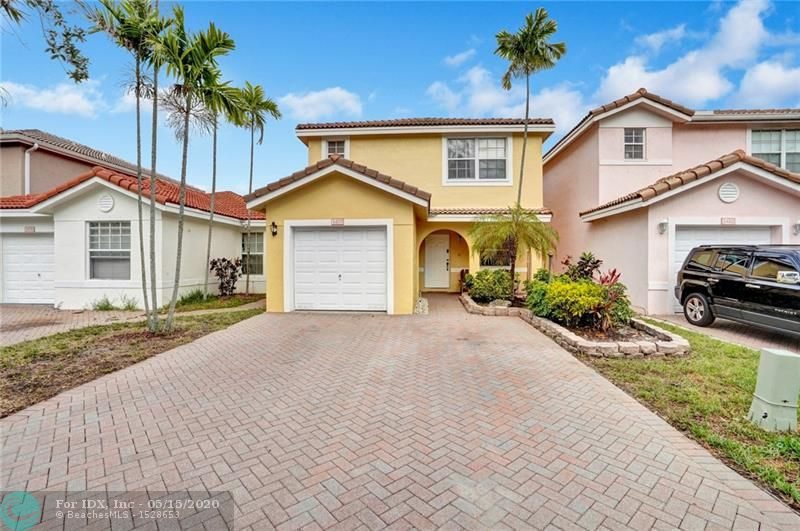 Very clean, well kept 3 bedroom and 2 and a half bathroom conveniently located in Sunrise. Easy access to Sawgrass Expressway, I-75, Florida Turnpike and major highways for an easy commute. This property is centrally located within walking distance to the brand new Sunrise Athletic Complex, parks, grocery stores, gas stations, malls, shopping centers, and restaurants. It boasts a relaxing view of the lake with beautiful sunrises. Stainless steel appliances in the kitchen, clean tiles on the bottom floor, and spacious bedrooms upstairs. It is only a few steps from the community pool and community park. Low HOA. Security camera located in the front entrance and brand new, fresh, exterior paint. Great beginner home zoned for A+ elementary school. Virtual tour available upon request.