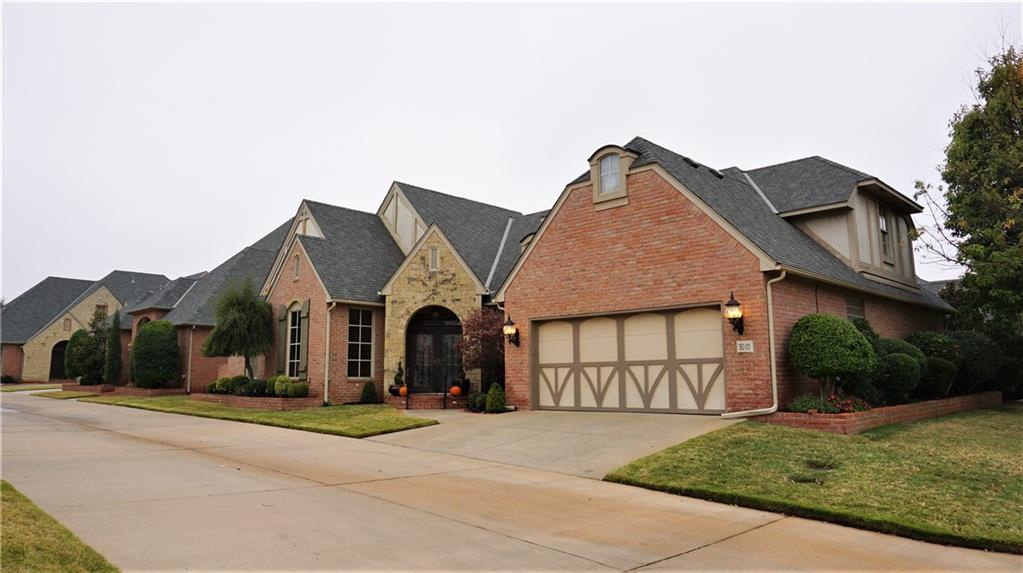 Charming European style home in one of OKC's most acclaimed gated neighborhoods.  Fantastic space & storage throughout with 10ft ceilings,  and an abundance of windows & natural light.  The Kitchen features a large granite island with breakfast bar, double ovens, wine fridge, gas cooktop & custom cabinetry.  Kitchen opens onto a large central Living Room with beautiful fireplace & built-ins, which overlooks the Covered Patio & mature landscaping. Spacious master down with fireplace. Master bath with oversized walk-in shower, double sinks, & walk-in closet. Utility off master closet with sink. Study with French doors. 1st floor Guest bedroom with hall bath. Upstairs you will find the 3rd bedroom/bath, a bonus/4th bedroom, & 2 oversized storage areas perfect for hobby rooms.  Neighborhood features  a gated entry, clubhouse, pool/hot tub & guest parking. HOA maintains front lawn as well.  Enjoy carefree living here!