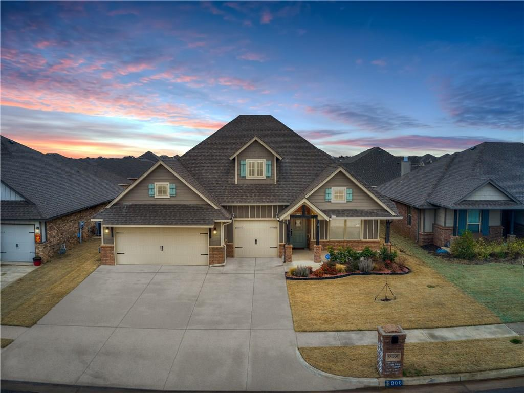 An immaculately maintained Shiloh Bonus Room Floorplan is available now with 4 bedrooms plus a bonus room, 3 full bathrooms and a 3 car garage, with the storm shelter in the garage floor.  An open concept plan that is perfect for entertaining with natural light flowing in from the living room windows, providing a warm inviting space.  Living room has easy maintenance wood-look tile floors, and the kitchen has gorgeous granite countertops and stainless steel built-in appliances, with a 4 burner gas cooktop and a corner walk-in pantry. The master bedroom has his and her closets, and an en-suite master bathroom that features separate vanities, whirlpool tub and spacious walk in shower! Comes complete with an outdoor and indoor fireplace, full privacy fencing, underground sprinkler system, two inch privacy blinds throughout, and is the perfect layout with the master and guest rooms split.  Location couldn't be more convenient to all of the shopping, restaurants, and amenities nearby!