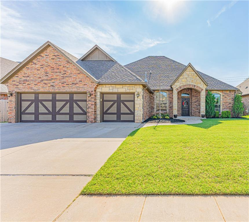Exquisite one owner home in Griffin Park Addition in Edmond! Fantastic location close to both Broadway Extension, Portland, Kilpatrick Turnpike, shopping, & restaurants. Community includes neighborhood pool, clubhouse, park, pond & walking trails, available to residents only. Home could be 4 full beds or 3 plus a study, two dining areas, & 2 ½ baths. Split floor plan with open living/kitchen/dining areas. Large living room has beautiful rock fireplace, engineered wood flooring & lots of windows providing natural light. Kitchen features island, granite counters, Whirlpool stainless steel appliances, built-in gas range & breakfast bar. Spacious master bed with en suite, double vanities, relaxing jetted tub, & an amazing walk-in shower with gorgeous tile. Plus a huge walk-in closet with built in dresser and shoe racks. Dedicated laundry room with built-in cabinets and sink. Fully fenced backyard with oversized covered back patio. Great for entertaining and watching sunsets!