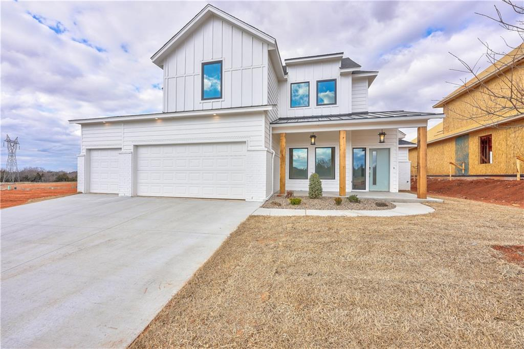 """Introducing a modern farmhouse style! Now you can have your own place where everything is brand new and is just waiting for you to add your personal touch. Imagine the life you can live here, in Twin Silos, a new Deer Creek community. Thanks to the open living area, you can easily have people over, serving snacks from the kitchen while your friends gather around the game on TV. The kitchen is amazing with enough room for even the most advanced chef. Then, when evening comes, you can retreat to your spacious owner's suite and relax in style. Upstairs bonus room too! You will thoroughly enjoy your outdoor space with a covered patio. Don't miss this outstanding home. James Hardie fiber cement siding, low E windows, tankless water heater and Energy Star rated HVAC are among the homes """"green"""" features.... Welcome Home Wood tile located in the entry, study, kitchen area and living room."""