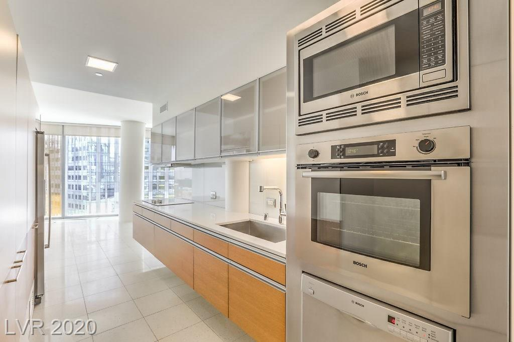 Don't miss this beautiful one bedroom unit in City Center with stunning views of the south Strip. So many high end finishes including floor to ceiling windows, stainless appliances, solid surface counters, Euro cabinets, tile floors & a custom tile shower. The tower is pet friendly & fully staffed w/ valet, concierge & security. Enjoy the roof top infinity pool, sauna, outdoor kitchen & gym. Live the life of true luxury in the heart of the city!!