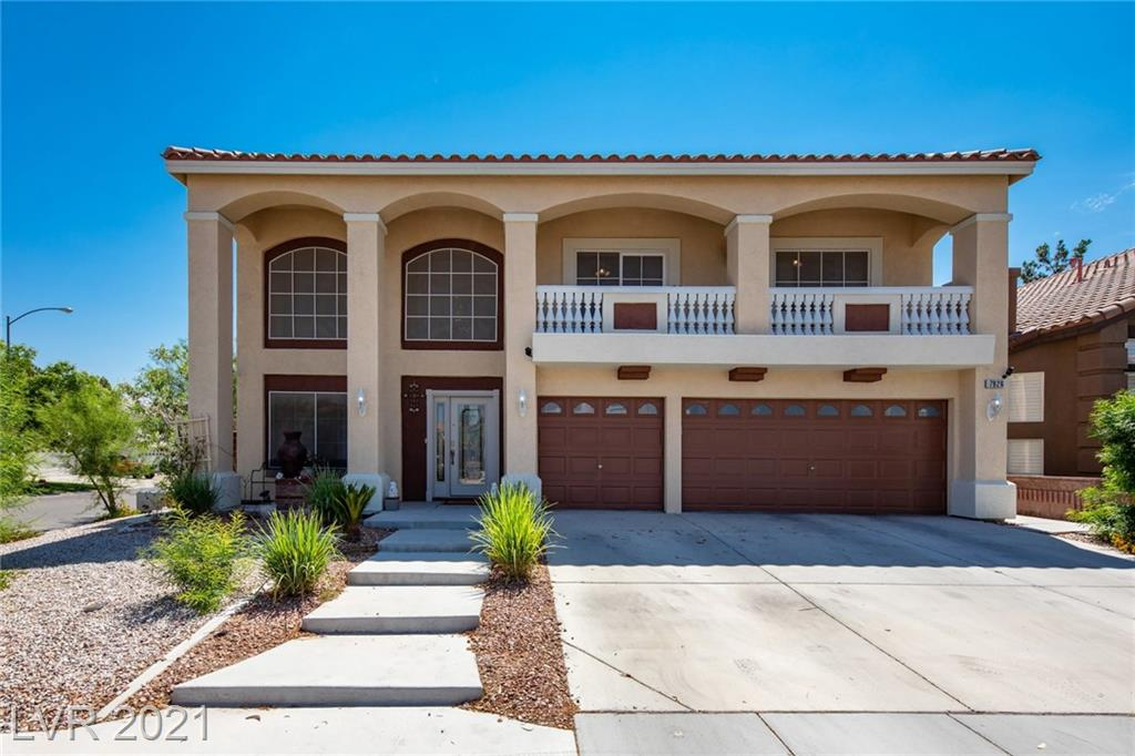 Popular American West floor plan on a large corner lot in Coronado Ranch. This desirable neighborhood offers easy access to exciting recreation, shopping, dining, and entertainment to fulfill any lifestyle. You will fall in love with the spacious 3314 square-foot layout offering the flexibility and space to suit any need. Living room welcomes you with soaring ceilings and perfectly placed windows allowing natural light to pour in. Kitchen is complemented by an island, maple cabinetry, granite counters, and a dining nook. Family room is ideal for relaxing or entertaining thanks to the fireplace, surround sound wiring, and easy slider to the patio. Primary suite is treated to crown molding, cozy two-way fireplace, and two walk-in closets. Backyard highlights included expansive patio, planters, convenient storage shed, and paved side yard with potential for RV/boat parking. Upgrades include stone pattern tile, new hardwood laminate, new carpet, new AC unit, and new paint inside and out.
