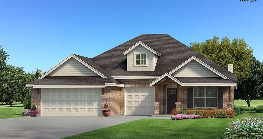 This Shiloh Floorplan offers 2,220 Sq Ft of total living space, which includes 1,950 Sq Ft of indoor living space and 270 Sq Ft of outdoor living space. There is also a 625 Sq Ft, three car garage with storm shelter installed. There are 4 bedrooms and 2 full bathrooms! Wood look tile as the main flooring! The spacious living room has a detailed coffered ceiling, gorgeous stack stone surround gas fireplace, 2 large windows, and a barn door that secludes the bedrooms! The kitchen offers stainless steel appliances, cabinets to the ceiling, island, large corner pantry, and backsplash. The master suite features a box ceiling details with incandescent rope lighting, HUGE walk in closet with seasonal hanging, spacious walk-in shower, and Jetta Whirlpool Tub! The back patio is covered and has an outdoor fireplace, gas line, and cable/electrical hookups. Other amenities include a whole home air filtration system, Rinnai Tankless water heater, R-44 insulation and a TechShield radiant barrier!