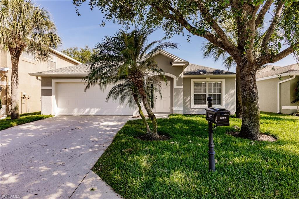 Home sweet home awaits you! This adorable home is move-in-ready and has so much to offer! The interior of the home was recently remodeled in 2016 to include the modern wood-plank tile flooring in all main living areas, stainless steel appliances, as well as granite countertops, and white cabinets in the kitchen and bathrooms! The home has plenty of space for all your needs. Enjoy the 4-bedroom split floor plan. Not to mention even more space with a full formal living area and open kitchen to family room. The kitchen boasts an abundance of counter and cabinet space and a double French door large pantry. The open format kitchen with peninsula bar allows for you to enjoy your family and guest in the family room. Relax in your own paradise, in the custom oversized, heated, saltwater pool with beachfront seating, bubblers, and waterfall fountain. The pool was just added in 2016. The roof is less than a year old, just replaced in 2020. HOA's are only $106 a month and large dogs are welcome! Centrally located just off  Daniel's Parkway, close to I-75, shopping, airport, and so much more. Take a tour, fall in love, make an offer!