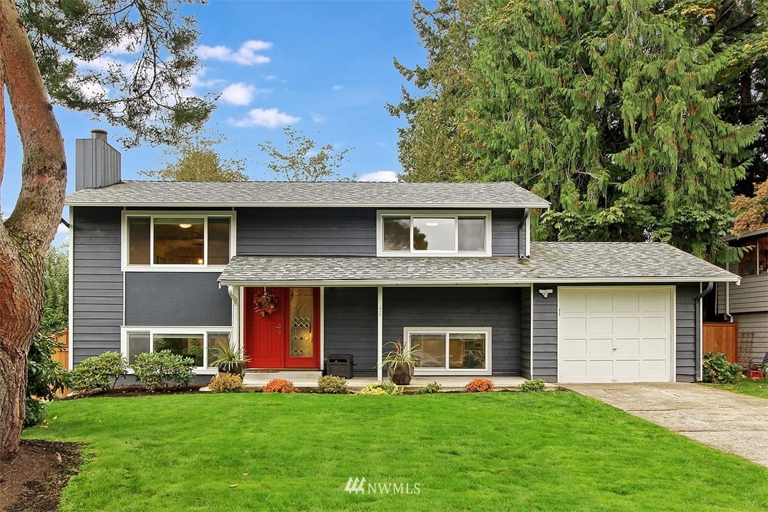 Beautifully updated Kirkland property! This light & bright home features 3 bedrooms, 2 full baths w/ every surface elegantly updated along w/ a 7,500 sq ft level lot located in a quiet cul-de-sac. Plenty of room to work from home. Kitchen features new Quartz countertops, SS appliances and newly painted cabinets. Both baths feature marble tiled surrounds and new fixtures. New engineered flooring throughout. A/C. Walking distance to new Totem Lake Mall, commuting bus lines & QFC. Attached garage.
