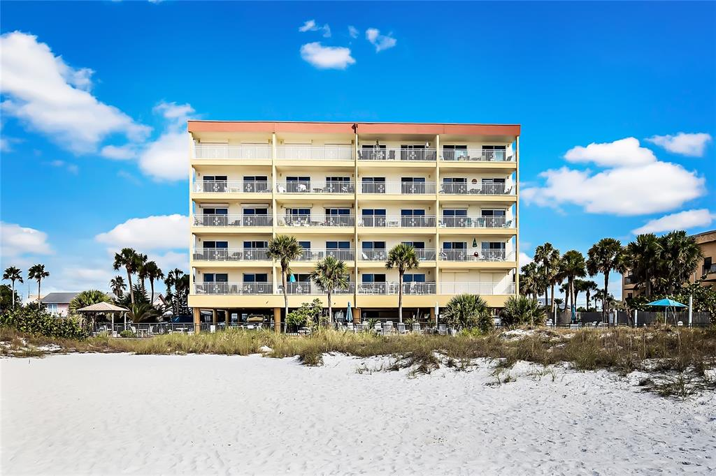 Completely Renovated 1 Week Minimum Rental Condo on Madeira Beach. This 2 Bedroom, 1 1/2 Bath Condo has been completely updated with new Kitchen, Granite Countertops, Shaker Cabinets and Ceramic tile Floors throughout. All New Furniture & Air Conditioner. Washer & Dryer in the Unit, no need to share with other guests. This Unit is truly Turnkey. Balconies from the Living Room and Master Bedroom are south facing with views of the Gulf of Mexico and Johns Pass Village. Secure gated Heated Pool and Grills located just steps from the sandy Beach. 2 Secure Elevators on site. Great Short term Rental income. Walk for miles on the Beach or Cross the Street to Johns Pass Village Shops, Restaurants and Attractions, where there is entertainment for the entire family. Convenient, assigned Partial under-building Parking #406. Pets allowed for Owners. Great Investment property, Beach Home or 2nd Home.