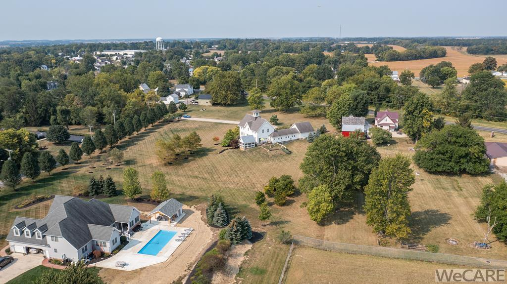 Aerial view of home on 2.42 acres