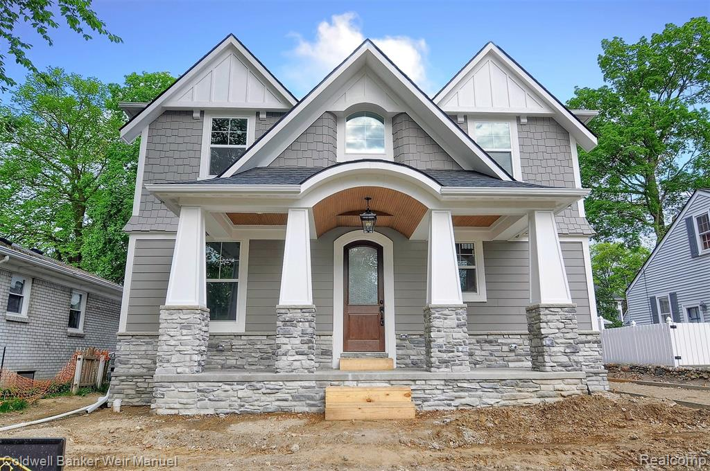 """Stunning custom craftsmen style new construction in downtown Plymouth! Located on a great lot in walking distance to town! Large covered front porch w/barrel ceiling will welcome you to this exquisite home w/9' 1st flr clgs. Hardwd flrs in foyer continue to powder rm, kitchen, great rm & dining rm. Open plan w/great rm feat. coffered clg & sealed gas frplc, din. rm & a large, gourmet island kit. boasting 42"""" cabinets w/crown, granite or quartz countertops & walk-in pantry. Great rm & din. rm overlook a large covered rear porch. Lots of windows t/o fill this home w/tons of natural light! Exceptional energy efficient feat. like thermo insulated double pane windows & 96%+ efficiency furnace. Barn door entry into laundry/mud rm w/built-in bench & lockers. Master suite w/WIC & bath w/floor to clg tile, walk-in shower w/Euro glass door & freestanding tub. Volume clgs in all bdrms & ceramic tile flrs & walls in baths. Basement w/9' ceilings. 2 car det. garage. Fabulous covered back porch!"""