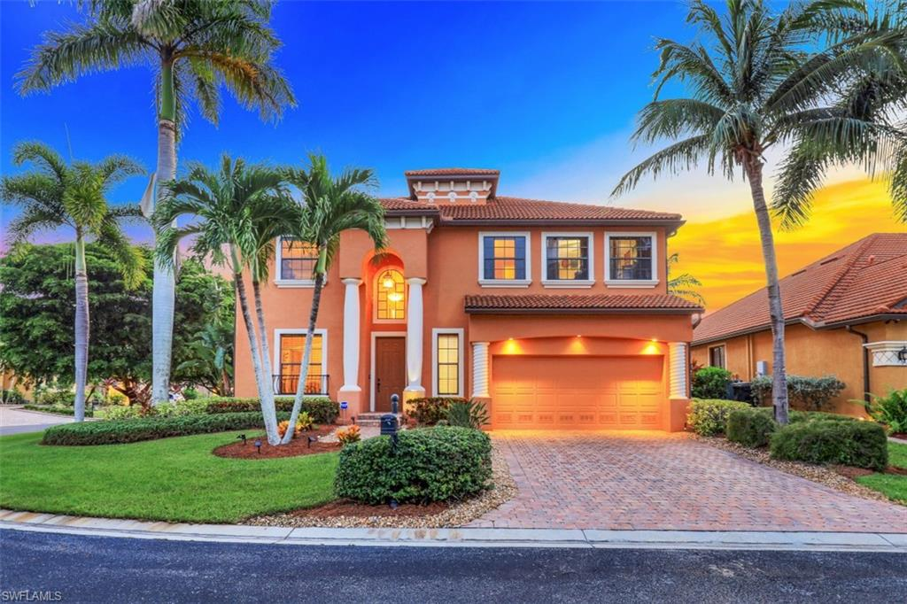 Come see this 3575 sqft pool home located in the gated community of Tropical Cove! This 5 BR + bonus room, 4.5 BA home features 2 owner's suites (1 downstairs & 1 upstairs), new carpet throughout (2019) & a luxurious 2nd floor sundeck. A formal dining area along w/ a sitting room right inside the foyer welcomes you into this charming home. The light & bright living area provides direct lanai access & is open to the eat-in kitchen that boasts a suite of stainless steel appliances, cabinets w/ upper crown molding & breakfast bar. The generously sized owner's suite located on the main floor also provides lanai access as well as upper crown molding & a private ensuite w/ a walk-in shower, soaking tub & dual sinks. The owner's suite located on the 2nd floor provides direct access to the sun deck & a private ensuite. Three more bedrooms, two bathrooms & a spacious bonus room complete the 2nd floor. The western facing lanai gives you breathtaking sunset views & a space to host gatherings or simply relax & enjoy the Florida sunshine in the resort style private pool/spa! Tropical Cove offers LOW HOA fees & is just minutes from Fort Myers Beach, Sanibel and various shopping/dining options!