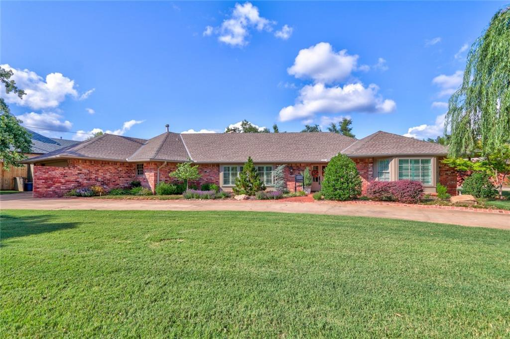 Multiple offers. Best and final offer are due Saturday at 5:00pm. Welcome to this beautiful and immaculate One-Story Ranch style home in Nichols Hills just North of the Oklahoma City Golf and Country Club. The living room is open with lots of light. There is a 2nd family room, office, laundry room, 3 bedrooms, 2 full baths and a half bath. The 0.57 acre lot has so much to offer with a lovely back yard, covered deck and additional back yard area with an outdoor fireplace and a storage shed.