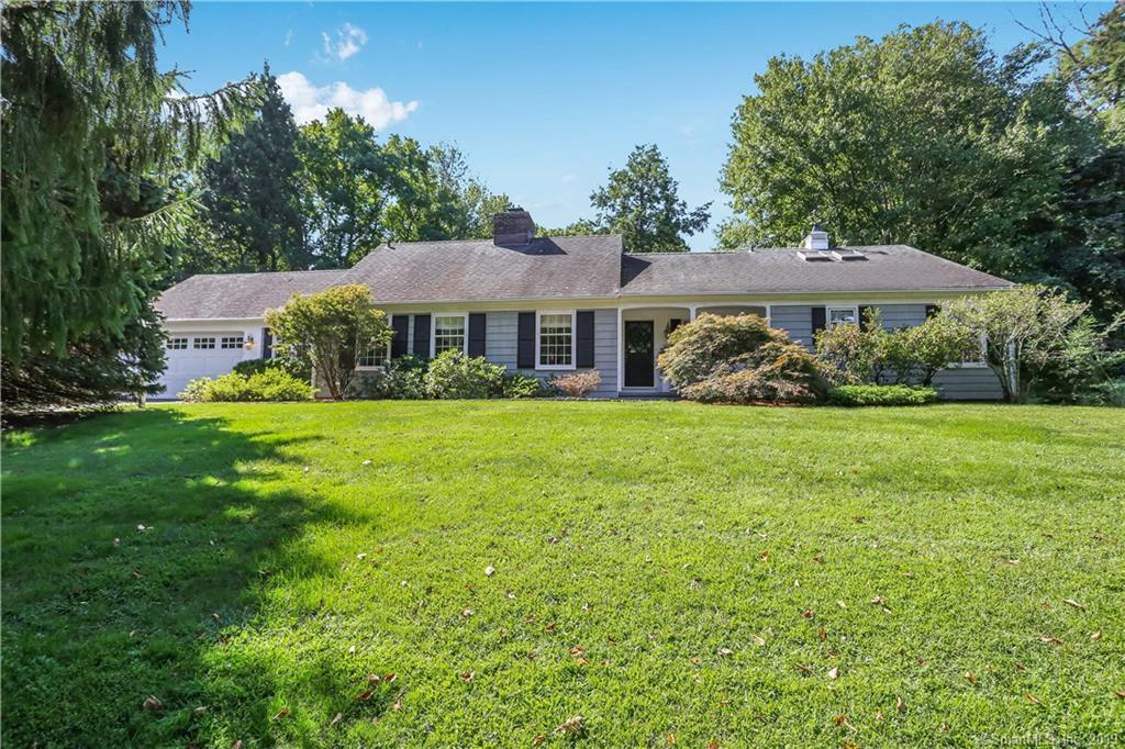 SUMMER SANCTUARY AWAITS! POOL! Lower Greenfield Hill one level living at its best! Living Room with stone fireplace welcomes you as you walk in. Family Room also with stone fireplace and French Doors that lead to amazing screened in porch. Kitchen opens up to large eating area that has french doors and bay window. All four bedrooms on main floor with hardwood floors and recently painted. Master Bedroom has 2 walk-in-closets and full bath. Three additional generous size bedrooms light filled with your choice of 2 full baths to use. SEPARATE OFFICE with hardwood floors and built-ins complete the first floor. And let's not forget the POOL with a patio perfect for entertaining! Minutes from town, train and schools! A must see...you won't be disappointed!  There is also Bonus Room on the 2nd floor not included in square feet.
