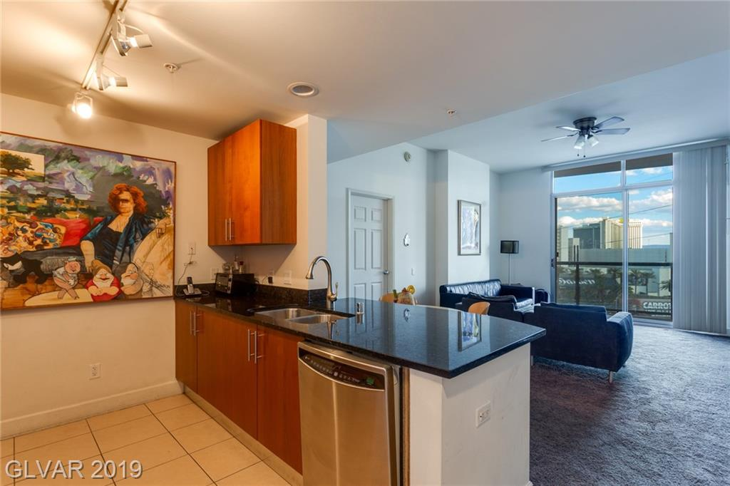 Gorgeous condo features 2 bedroom, 2 bath, with great view of the strip. Kitchen has beautiful tile flooring and black granite counter tops. Living room with sliding glass door out to balcony with a view. Very spacious bathrooms with large tubs.