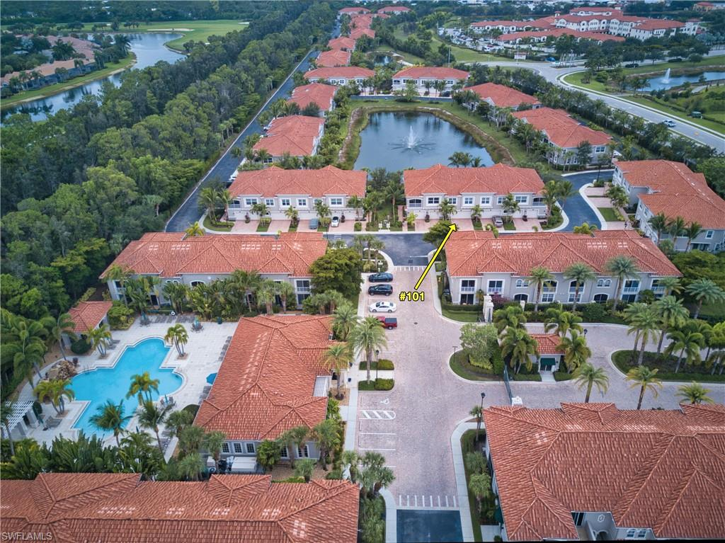 """RARELY AVAILABLE 1ST FLOOR CONDO WITH AN OVERSIZED 2.5 CAR GARAGE & STUNNING LAKE VIEW!! Relax on your extended paver patio or screened lanai overlooking the lake & fountain with Southern rear exposure. Located across the street from the community clubhouse & pool! This well maintained Osprey ground floor unit offers a great room layout with split bedrooms featuring 2 bedrooms, 2 baths, & a den with doors. Other features include: luxury vinyl flooring throughout, planation shutters, 42"""" wood cabinets w/ under cabinet lighting, SS appliances (2018), large counter height kitchen island with granite counters & tile backsplash. All of the fans & light fixtures have been upgraded. The interior & exterior of the condo were recently painted. Mirasol is a gated maintenance-free community of 200 units within walking distance to Coconut Point! The condo fees include: cable, internet, insurance, exterior maintenance, & water. Amenities include a clubhouse, exercise room, billiards, resort-style pool with cascading waterfall, & a separate covered spa. Conveniently located near the new Lee Health facility & easy access to US 41. Less than 20 minutes to RSW airport & the beautiful gulf beaches!"""