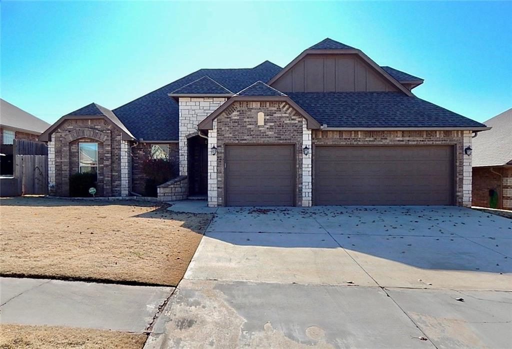 WOW - great home in The Falls!  Three bedrooms PLUS study AND bonus room in Moore School District!  Easy to maintain with tile and wood throughout.  Kitchen and breakfast nook open to living room with gas fireplace and views of the backyard.  Kitchen has granite countertops, gas cooktop, stainless steel appliances including refrigerator!  Master suite has dual sinks, jetted tub and oversized walk-in shower.  Ample shelving and built-ins in master closet.  Large utility room with drying and folding area.  Covered and open patio.  Three car garage with built-in storm shelter.