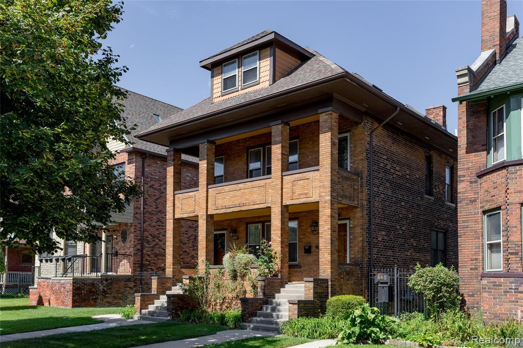 This spacious 3-bedroom, 2.5-bath condominium is the upper unit of a renovated historic duplex originally built in 1909. Tucked away on a quiet block, this condominium is conveniently located to the Q Line, Cultural Center, and the best shopping, bars, and restaurants of Midtown, New Center, and the emerging Milwaukee Junction district. The condominium itself features vaulted ceilings, skylights, front porch, back patio, and a dedicated office; Spacious Master Suite with built-in closet, renovated spa-style bath with custom walnut cabinetry, heated floors, and deep soaking tub for two; Newly renovated kitchen with quartz countertops, dual-tone cabinets, breakfast bar plus formal dining; One-car garage and off-street surface lot parking. NEZ tax abatement available for renewal in 2022.