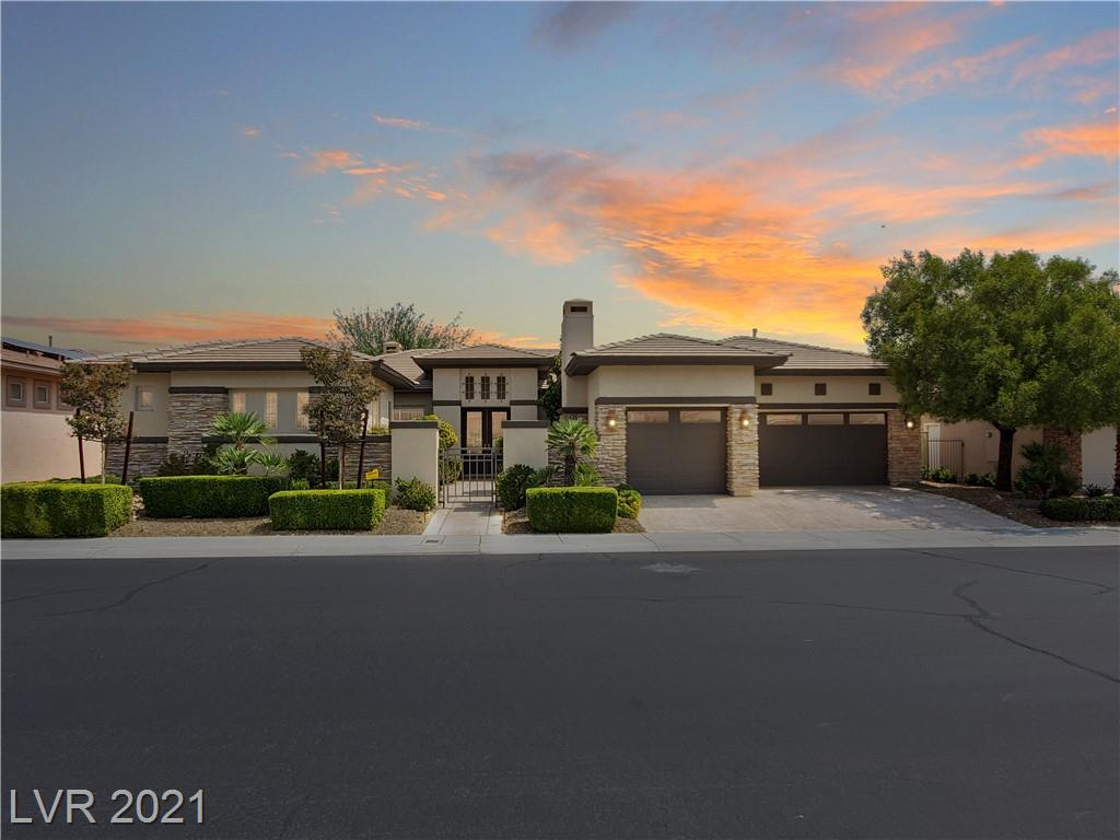 AMAZING LOCATION ON 8TH & 9TH FAIRWAYS OF SIENA GOLF COURSE, MOUNTAIN, LAKE & PARTIAL STRIP/CITY VIEWS.  BEAUTIFUL CURB APPEAL W/ CULTURED STONE, GATED COURTYARD W/ FIREPLACE, FULL FENCED REAR, OUTDOOR ENTERTAINMENT AREA INCLUDING A BUILT IN BBBQ AREA, COZY FIREPIT & SWIM UP SPA, LARGE '8,120' LOT, APPROX 3217/SF, 3 BED W/ CASITA, 4 BATH.  LIVING/DINING/GREAT RM, DEN, KITCHEN, STAINLESS STEEL APPLIANCES, QUARTZITE COUNTERTOPS, NEW 24X48 ITALIAN PORCELAIN TILE THROUGHOUT, CHERRY CABS, CUSTOM ISLAND, TRAY CEILINGS, SHUTTERS, SKYLIGHTS, CENTRAL VACUUMING, 3 CAR GARAGE WITH PLENTY OF STORAGE PLUS SO MUCH MORE!  THIS HOME HAS IT ALL AND IS A MUST SEE!!
