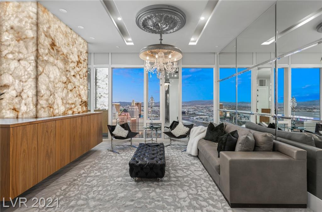 No expense was spared with this completely remodeled Waldorf Astoria Penthouse unit in the heart of the Las Vegas Strip. This 2,126 square foot, 3 bed, 2 and 1/2 bath features jaw dropping herringbone floors, a fully redesigned kitchen, custom lighting fixtures, and custom furnishings. This designer penthouse is truly one-of-a-kind! A world class residence just steps away from dining, shopping, and entertainment. Between the Las Vegas Strip views and proximity to T Mobile Arena, Raiders Stadium, and Mccarran Airport, convenience and luxury are at your fingertips!