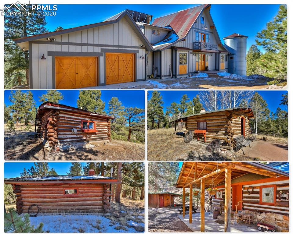 """***See the Amazing HD Video of this home at the Virtual Tour Link!!***  Incredible home in an amazing setting. Views of the Rocky Mountain and Pikes Peak. This 2 story home with 4 historic cabins sits on 60 acres just outside of Divide. There are wonderful mountain views as soon as you walk in the door. Soaring vaulted ceilings with a wall of glass to gaze out at the wonder of the Rock Mountains. The large great room features a gas fireplace with stacked stone clear to the ceiling, a gourmet kitchen with an exotic granite countertop bar and a dining area that walks out to the composite deck with a retractable awning.  The kitchen features granite counters, knotty hickory cabinets, a large deep undermount sink, a prep sink, a countertop gas range, a built-in oven and microwave, and built-in wine fridge. Living room windows have automatic light controlled insolated window blinds. The main level master has a private balcony with views, a walk-in closet, a five piece master bathroom.  The master bath has a soaking tub and an extra large shower.  Office is on the main level as well for the telecommuter.  The upper level has a bedroom and a loft bedroom. Both have adjoining bathrooms.  There is solar radiant in-floor heating throughout the home. This home is very energy efficient and utilizes green technology. The tile throughout the main level absorbs and stores heat and the windows are high altitude low E, double-paned and insulated.    A corrugated metal roof is a """"Hot roof design"""" for fire mitigation. See the attachments for all of the features of this home are listed in detail.  There are four historic log cabins on this property that date back to 1875.  The main cabin is 2 rooms and over 500 square feet. The other cabins are one-room cabins. All have heat and come fully furnished. Great vacation rental opportunity. There's also a fenced-in corral area as well as a large storage shed.  This is a one of a kind property."""