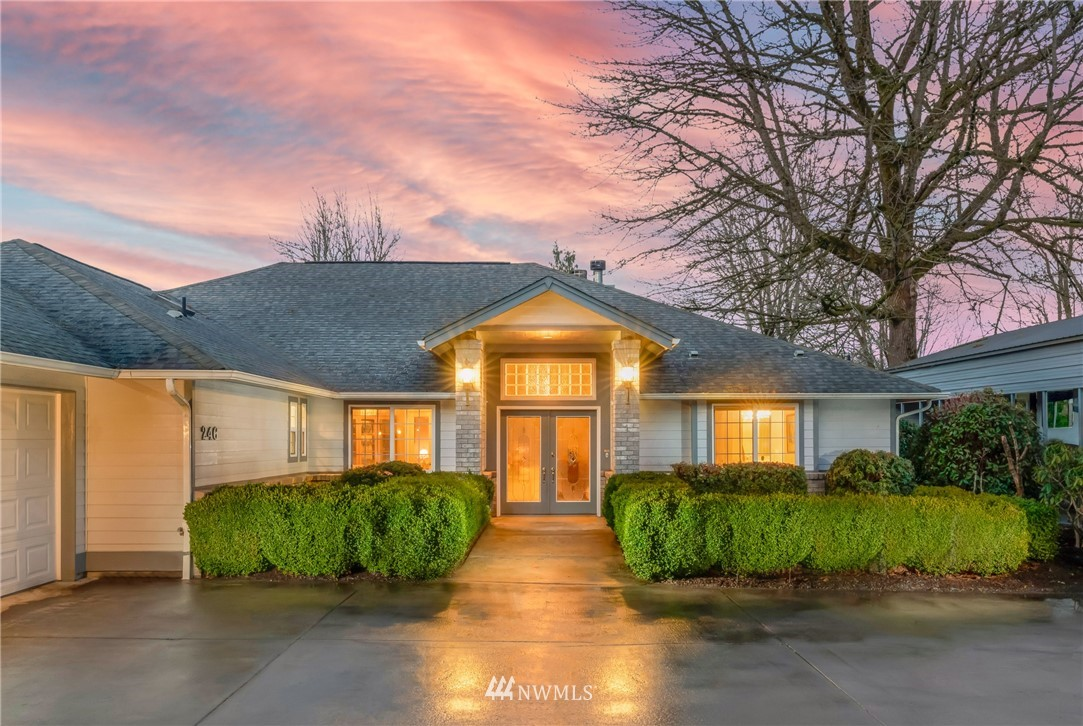 """This is a beautiful custom home on a private and quiet 5 acres in the charming town of Mossyrock! Conveniently located less than 15 minutes from Mayfield AND Riffe Lake, as well as quick and easy access to Mt. Rainier and White Pass Ski Resort for recreation throughout the year! The home features spacious living with THREE (3) master suites complete with walk-in closets and bathrooms, the """"grand"""" master has gorgeous views and a fireplace. Additional features include Italian Porcelain tile, three (3) propane fireplaces and a kitchen made for entertaining with a double oven, gas stove, and two walk-in pantries. Outside you'll find a large five (5) bay shop with a finished office, two (2) wood stoves, covered parking for eight, plus an RV!"""
