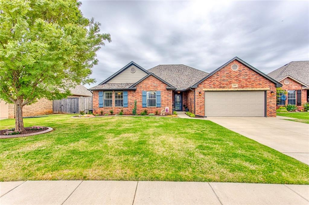 This Beautiful home in Hidden Prairie At Kelley Point is a true 4 bedroom home with 2 full baths. All the rooms are spacious with great closet space.  Super cute curb appeal in this remarkable neighborhood.  A walking trail with a pond view. Kitchen has granite and a gas cook top.   The living room is very spacious for all your family gatherings. In the backyard you will find a relaxing feel with a garden area.  Also a steel storage shed 10x12 for extra storage.  New roof and gutters in 2019.  Feel safe with a storm shelter in the garage and insulated garage doors. The garage has additional space for a work bench about 5x19.  Garage also has Epoxy floors. There is a storm door on the front door and also on the garage side door.  This well cared for home is ready for move in. Schedule your showing today! 22 Min to Tinker main gate. 16 min to Downtown, about 15 min to lots of shopping and restaurants off Memorial road.