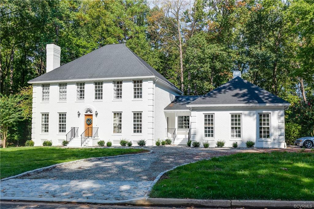 Welcome to this Stately Colonial in Huguenot Farms featuring 5 bedroom 2.5 baths with over 3,200SF with a side load 2 car garage on over 3/4 of an acre. Boasting a fresh coat of exterior paint, recently landscaped front, side and rear yards featuring a circular drive way with granite curb, massive 12x30 rear deck with a 12x12 covered porch featuring built in benches and vaulted ceiling and larger slate patio in the back yard this is a perfect setting!  Formal living room with fireplace, built-ins and opens to the formal dining room with bay window overlooking the manicured rear yard and patio area. Light and bright gourmet kitchen with island, SS Appliances, pantry, tons of cabinets, eat in area and a bay window. Spacious den with vaulted ceiling, skylights, larger brick fireplace with oversized mantle and another bay window! Master bedroom also boasts walk-in closet, lots of light and has an en-suite featuring a larger double vanity, jetted tub, walk in shower with glass door and separate water closet. Spacious bedrooms with larger closets throughout! Larger hall bath currently being remodeled will feature a curb less walk in shower with tile floor and a larger vanity.