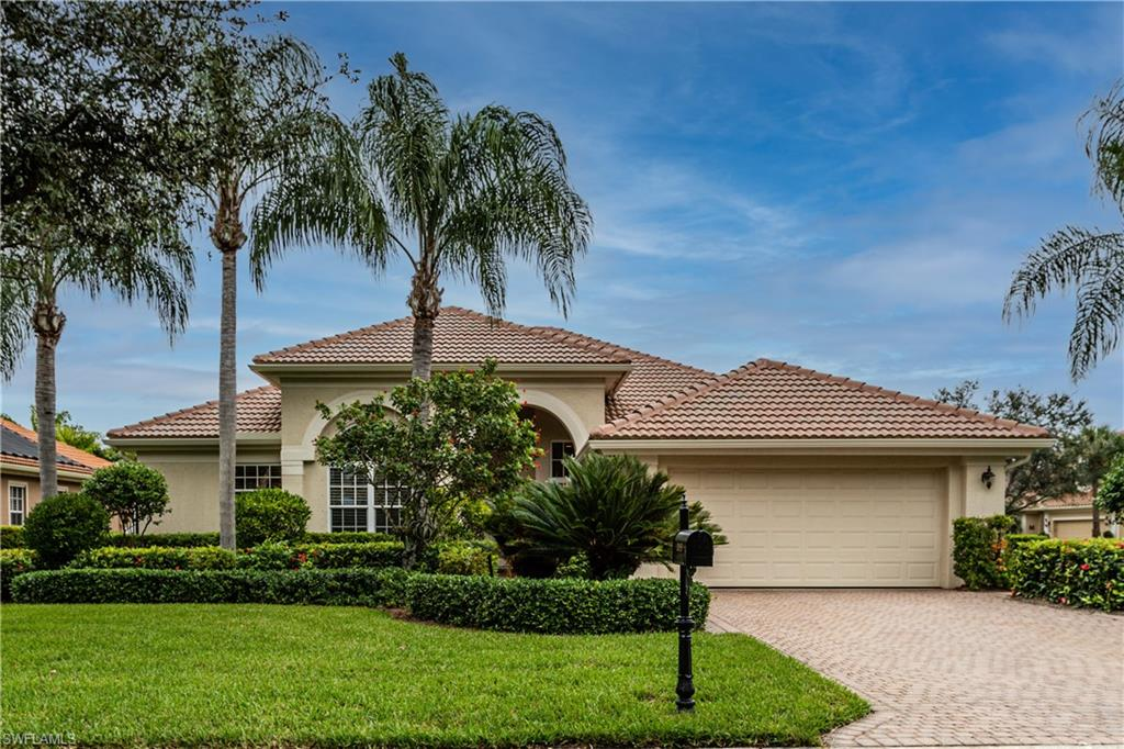 Best Priced Home in Grandezza! Open Great Room floor plan seldom offered! Enjoy landscaped & NE lake views from your lovely heated pool & lanai. The home has a new roof + newer a/c & more. Some of the many features are electric storm fabric screens & impact glass, tray ceilings/crown molding, wall niche, formal DR, miter glass window, Bosch range & dishwasher, Miele W/D, tile & more. All within beautiful Grandezza, a year-round active community in the heart of booming Estero. See the club's redecorated 53000 Ft. clubhouse. See the redone pool cabana and deck, The private golf course is in fine shape. Grandezza is next to FGCU, across from Hertz Arena, next to a shopping center, across from Miromar Outlet, 15 minutes to the airport, & near restaurants, hotels & more to come!