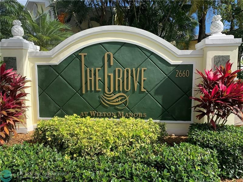 RARELY AVAILABLE FURNISHED CORNER UNIT FOR SALE AT THE GROVE AT WILTON MANORS. 2 EXTRA WINDOWS AND PRIVATE ENTRY!! PARK RIGHT IN FRONT OF YOUR HOME IN ASSIGNED PARKING #17. GATED COMMUNITY JUST STEPS AWAY FROM ALL THE ACTION ON WILTON DRIVE. 2 BEDROOMS/1 BATH. UPDATED GRANITE KITCHEN. HURRICANE IMPACT WINDOWS AND DOORS. HEATED POOL. BBQ. BIKE STORAGE. COMMUNITY LAUNDRY ROOM. 2 PETS ALLOWED! PRIVATE PATIO! GREAT PLACE TO CALL HOME OR GREAT INVESTMENT. RENT IMMEDIATELY.   MINIMUM 90 DAY LEASE AND YOU CAN RENT 2 TIMES PER YEAR. FURNISHED TURN KEY UNIT!!! SHOWS GREAT!! AND EASY TO SHOW!!