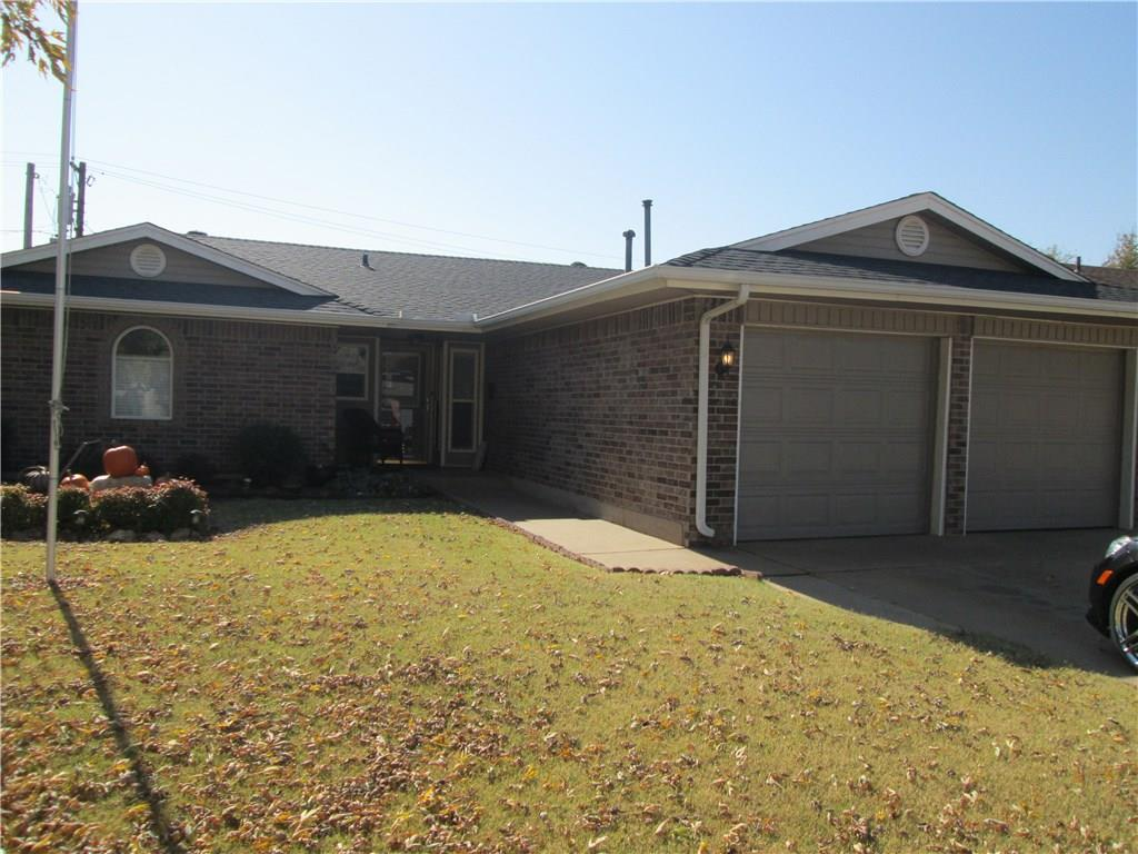 Move-in ready! Super cute home in Moore schools offers a great layout with 3 bedrooms and 2 bath rooms. 2 car garage.  Features a large backyard with a storage shed and storm shelter. Located minutes from shopping, retail, restaurants and with easy access to I-35.