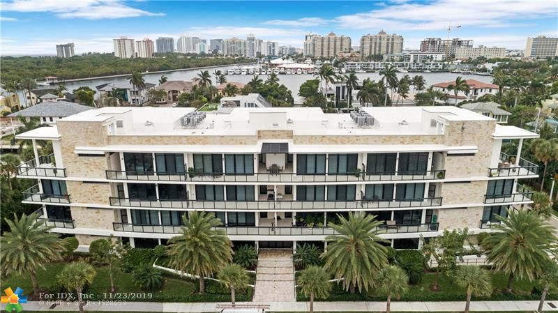 Rarely available 3 bedroom, 3.5  bath condo in boutique building of only 15 units with private elevator.  Views of Intra-coastal waterway and Birch Park.  Close to beaches, shopping and fine dining in nearby Galleria Mall. This building built in 2016, has striking architecture and was built by locally renowned builder AZD Builders. 500 sqft of terraces both front and back bring the outside tropical breezes inside. Private foyer entry, 10.5 ft ceilings, floor to ceiling hurricane impact windows, Summer Kitchen, flow through design, Italian cabinetry, top of the line Bosch appliances, two covered parking spaces, motorized window treatments, are just some of the many features offered here.  Call for a personal tour of this exceptional and exclusive residence you will want to call home.