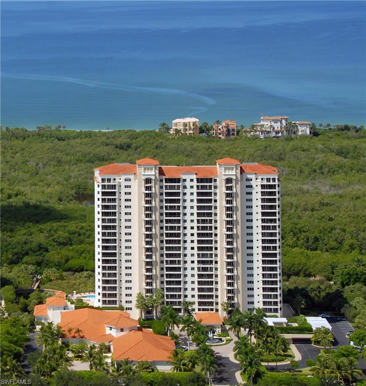 Enjoy sweeping 180 degree views of the Gulf from your 6th floor residence that includes two ensuite bedrooms and a den or 3rd bedroom. Neutral finishes create a blank slate for your personal style. Beautiful hardwood flooring in the main living area creates an inviting space to embrace your view. The Marbella includes all that Pelican Bay has to offer – two private beach clubs and restaurants with tram service, two tennis centers and a state of the art fitness center. You are also in close proximity to Waterside Shops, The Club at Pelican Bay golf course (separate membership) and the Naples Philharmonic. On top of your Pelican Bay offerings, you have seemingly endless amenities that await you at the Marbella – fine dining (room service available), a vibrant social calendar (including concerts, bingo, book club, tea, dining specials and more!) beauty salon, massage room, heated pool and spa, fitness center, guest suites and an onsite concierge. The Marbella at Pelican Bay offers 100% equity ownership, The Cove (an onsite assisted living and medical facility), 24 hour emergency response and extensive medical care if needed.