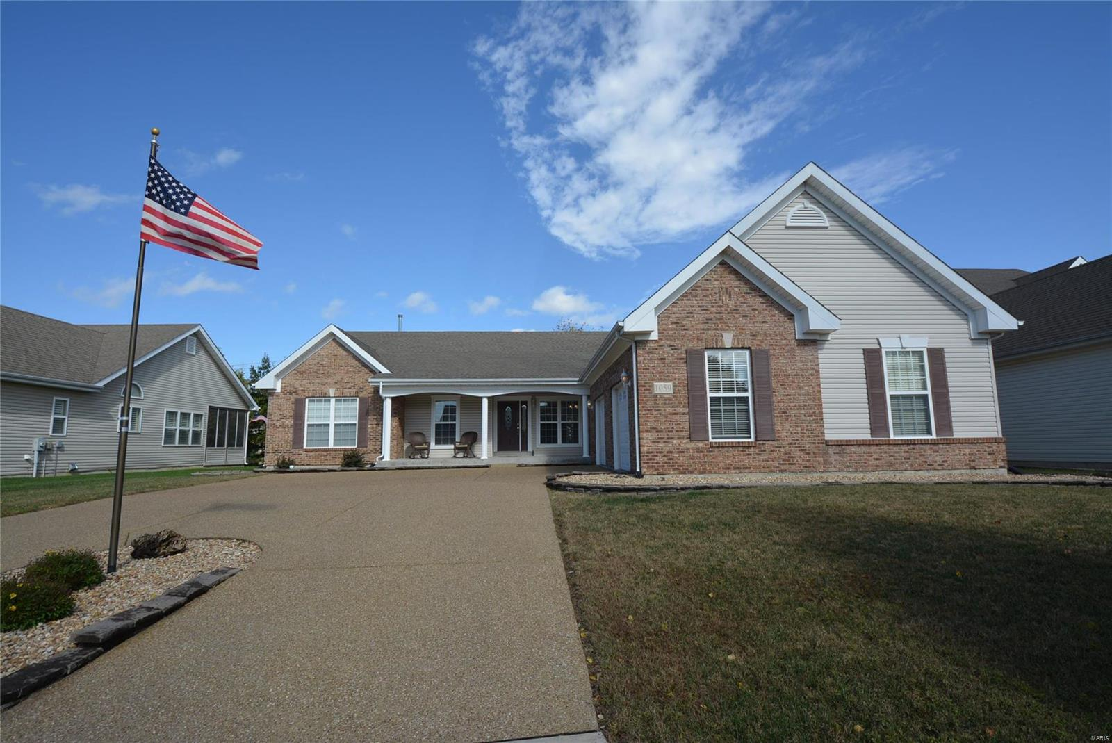 "WELCOME HOME to this 3BR, 2BTH, 2,228 SF ranch floor plan. Foyer opens to vaulted great rm w/gas FP & Casablanca ceiling fan. Laminate/vinyl/Carpet flooring throughout. 9 Ft ceilings. Kitchen features 42"" raised wood cabinets. Huge bkft bar island, new stainless steel appliances & pantry. Main floor master suite w/walk-in closet. Master BTH includes his/her adult height vanities, adult height toilet, tub & separate shower. 2 add'l main floor BR & full BTH. One bedroom off the foyer currently used as office & has double French doors. Main floor laundry/mud room w/large closet & cabinets. Tons of shelving in lower lvl w/rough in for bth. Fenced, secluded backyard. aggregate courtyard entry driveway. 2 car insulated oversized garage is extra deep and wide w/insulated extra wide 9' garage doors. Architectural roof. Great location w/easy access to highways, shopping & schools. Fort Zumwalt School District. Possible owner financing. A MUST SEE!"