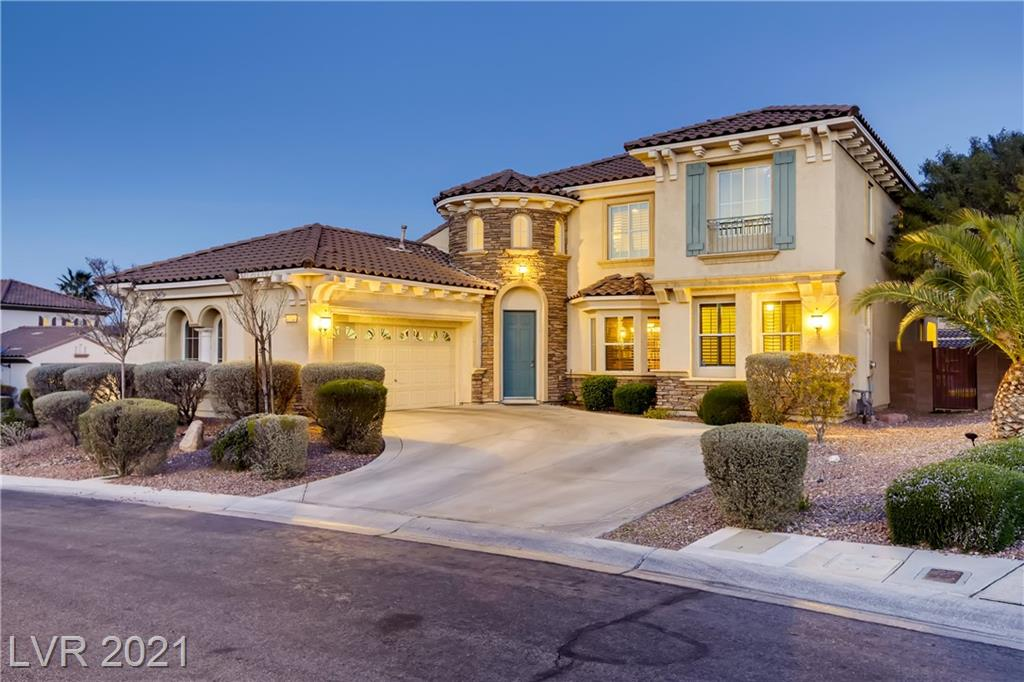 Summerlin Style! This beautiful home has 4BRs, 3.5BAs and 3121sqft of space for all your needs. Perfect for entertaining friends with a formal living & dining room or a family gathering in the Great Room. The open kitchen has granite counters and paneled cabinets and includes an island with breakfast bar plus a separate dining nook. The Primary suite is downstairs with walkin closets & a bath with dual vanities and separate shower & tub. There is 2nd bedroom downstairs w/bath, ideal for guests or extended family, as well. For those who work or learn from home there is a office space or a loft a the top of the stairs. Two more upstairs bedrooms provide space for all your family needs. Out back there is a lovely pool & spa, built in bbq, and covered patio with balcony views of the city skyline. All of this plus close proximity to schools, parks, dining, shopping, & recreation. Treat yourself to the Summerlin Lifestyle.
